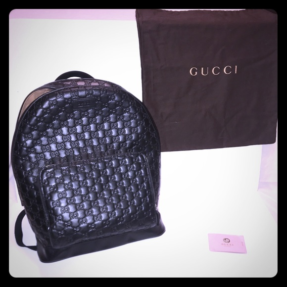 dadd53de3dc2 Gucci Bags | Signature Leather Backpack Black | Poshmark